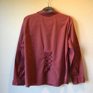Dusty mauve color, button down shirt
